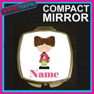 BROWN HAIR GIRLS PERSONALISED NAME COMPACT LADIES METAL HANDBAG GIFT MIRROR